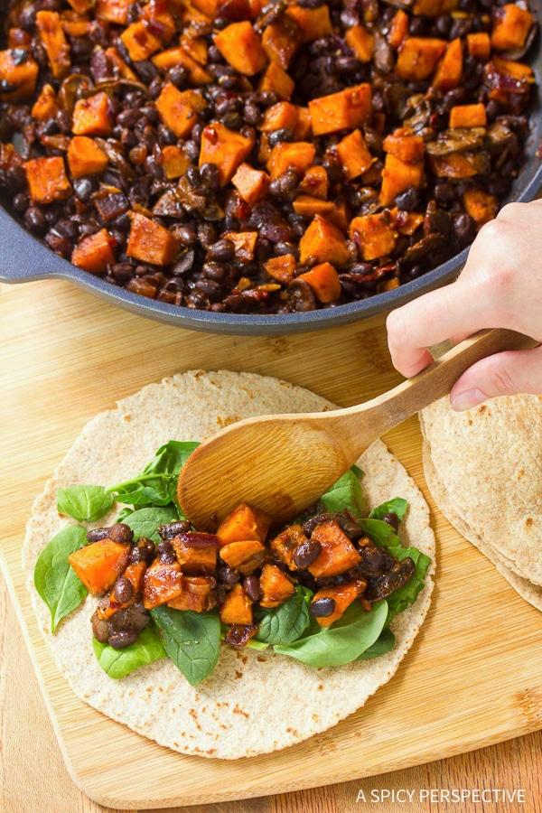 Simple Vegetarian Black Bean Sweet Potato Skillet Enchiladas Recipe
