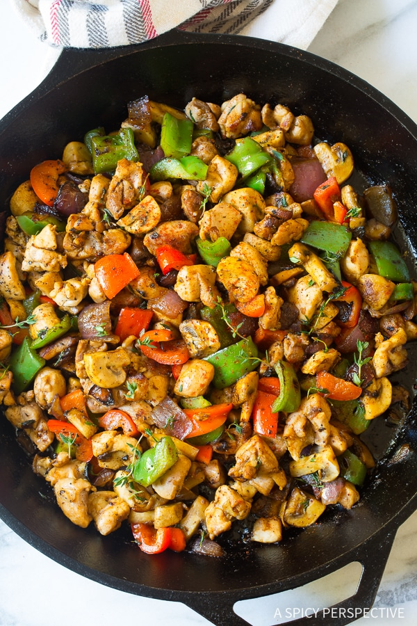 Simple Croatian Chicken Mushroom Pepper Skillet Recipe