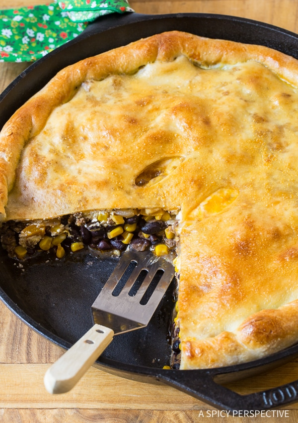 Perfect Skillet Taco Calzone Pie Recipe