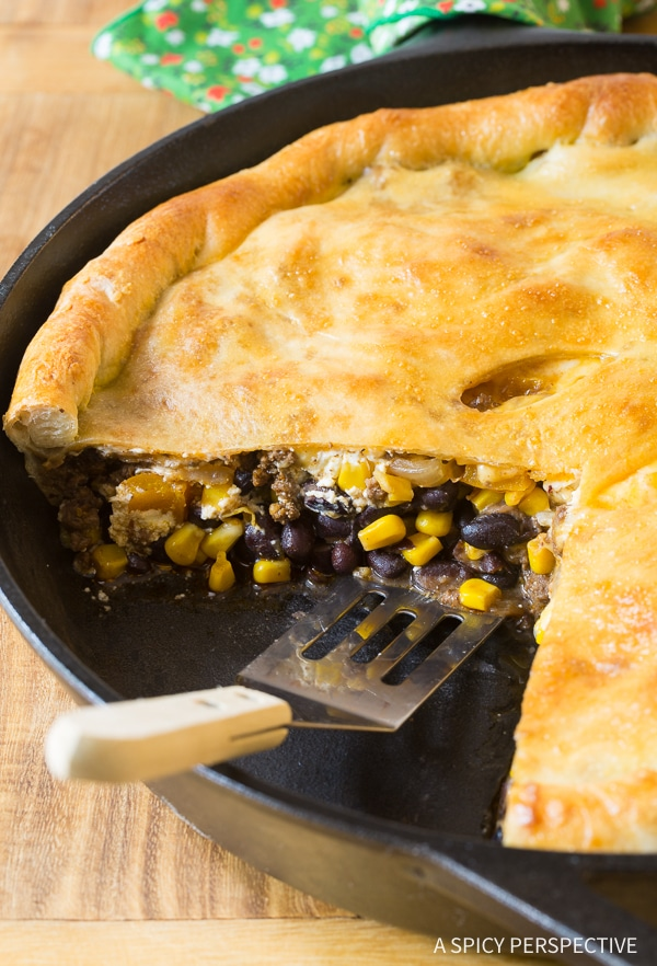 Skillet Taco Calzone Pie A Spicy Perspective