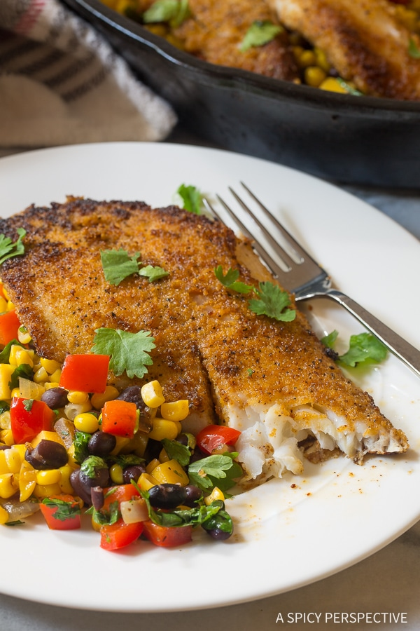 Heavenly Pan Fried Tilapia Southwest Skillet Recipe