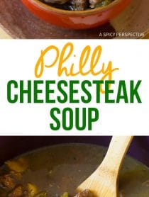 Hearty Philly Cheese Steak Soup - Lighter than a Philly Cheesesteak Sandwich... In a bowl!