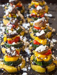 Zesty Sheet Pan Roasted Vegetable Polenta Stacks - A Vegetarian and Gluten Free Recipe!