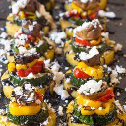 Zesty Sheet Pan Roasted Vegetable Polenta Stacks - A Vegetarian and Gluten Free Recipe!