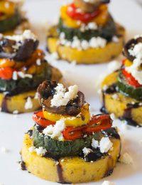 Healthy Sheet Pan Roasted Vegetable Polenta Stacks - A Vegetarian and Gluten Free Recipe!