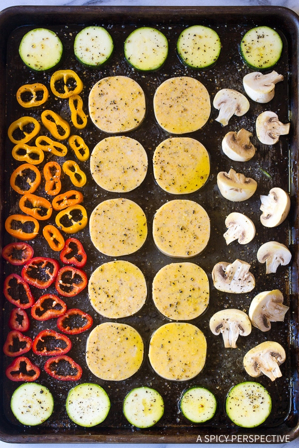 How To: Sheet Pan Roasted Vegetable Polenta Stacks - A Vegetarian and Gluten Free Recipe!