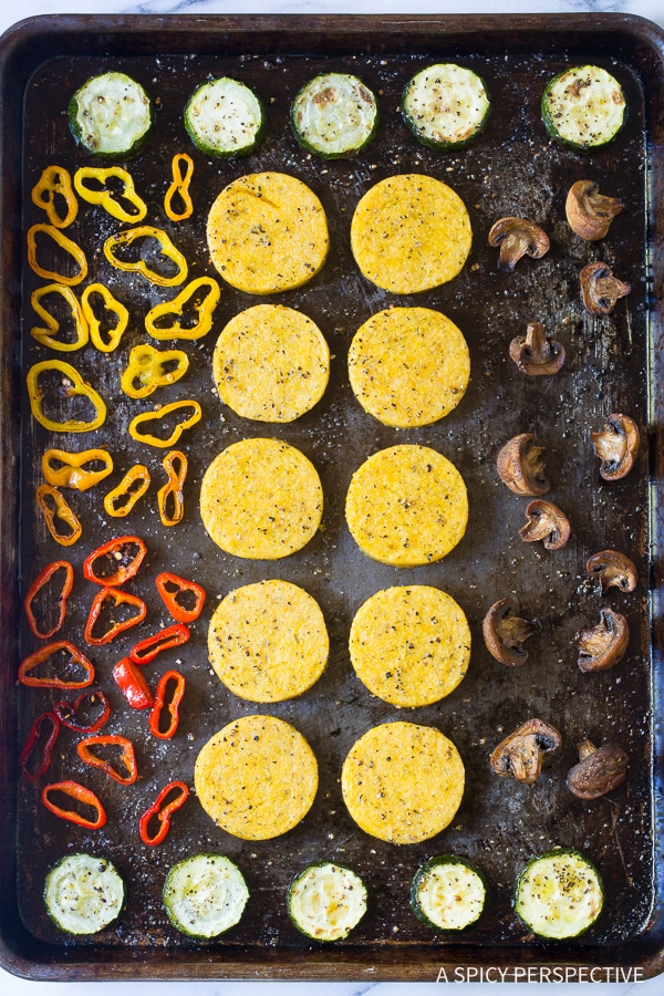 How to Make Sheet Pan Roasted Vegetable Polenta Stacks - A Vegetarian and Gluten Free Recipe!