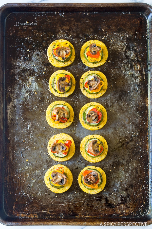 Simple Sheet Pan Roasted Vegetable Polenta Stacks - A Vegetarian and Gluten Free Recipe!