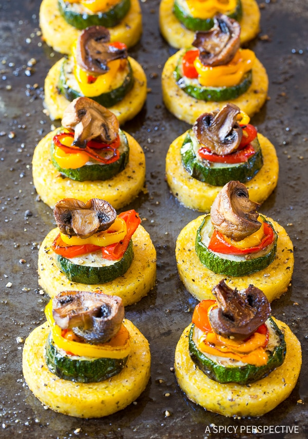 Perfect Sheet Pan Roasted Vegetable Polenta Stacks - A Vegetarian and Gluten Free Recipe!