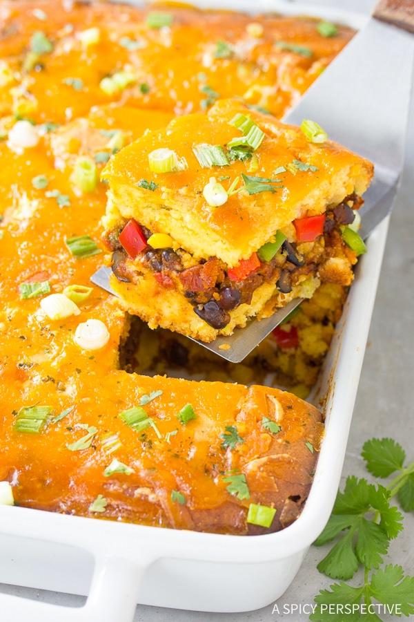 Fiesta Stuffed Cornbread Casserole Recipe