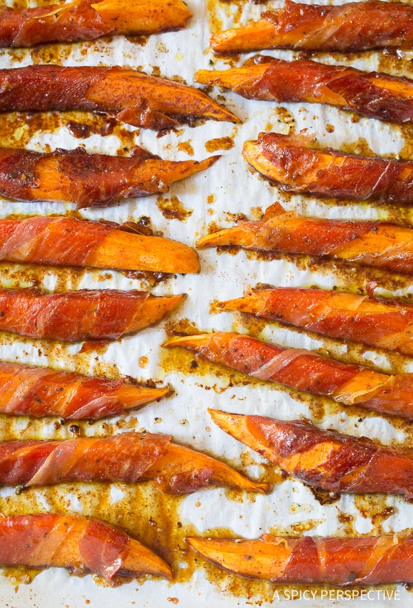 Crisp Maple Glazed Prosciutto Wrapped Sweet Potatoes Recipe