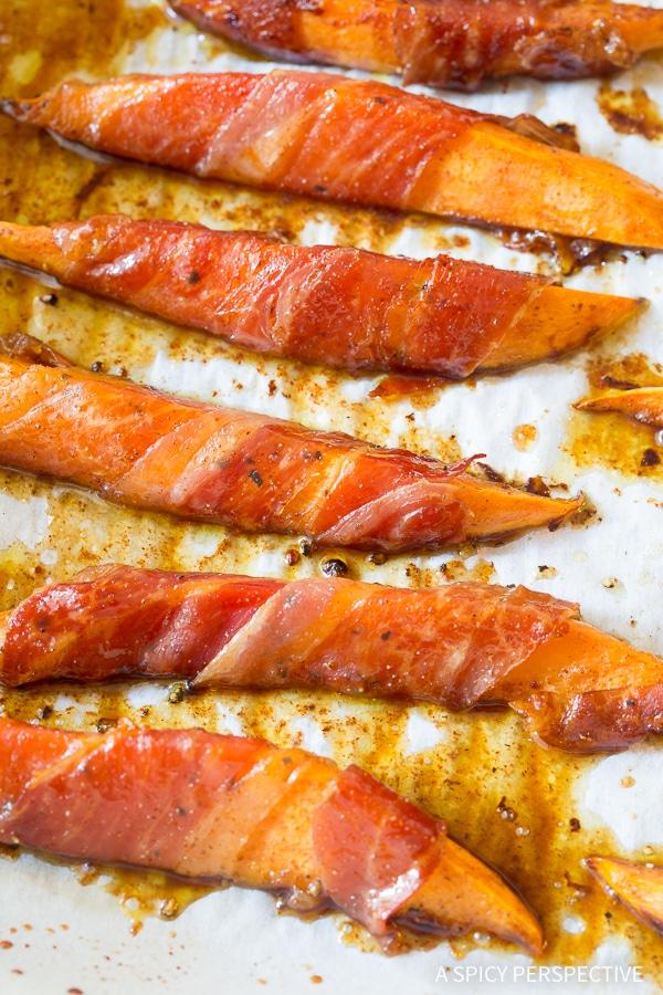 Savory-Sweet Maple Glazed Prosciutto Wrapped Sweet Potatoes Recipe