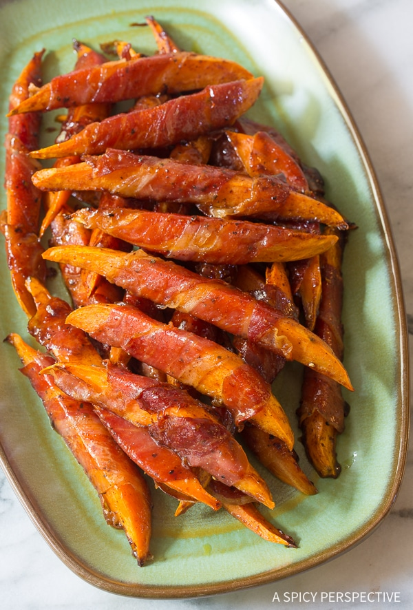 Easy Maple Glazed Prosciutto Wrapped Sweet Potatoes Recipe