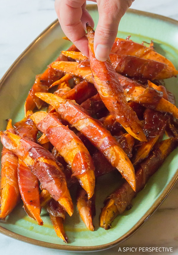 Crunchy Maple Glazed Prosciutto Wrapped Sweet Potatoes Recipe