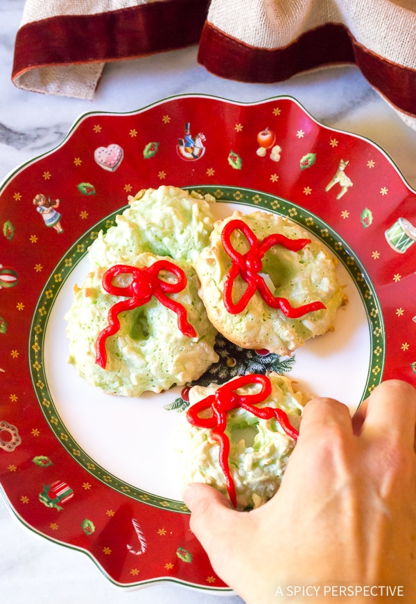 Christmas Wreath Coconut Macaroons Recipe - Gluten Free, Dairy Free, Nut Free!