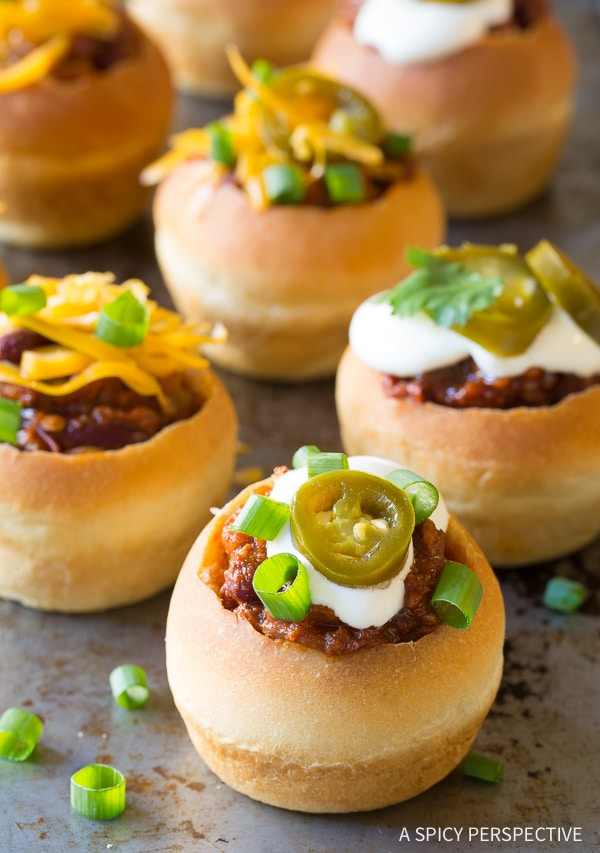 Zesty Mini Chorizo Chili Bread Bowls for Game Day!