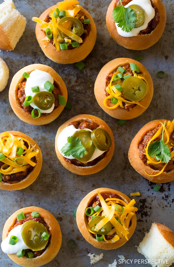 Mini Chorizo Chili Bread Bowls Recipe for Game Day!