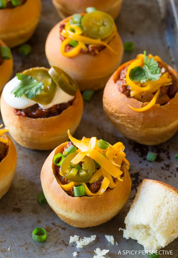 Perfect Mini Chorizo Chili Bread Bowls for Game Day!