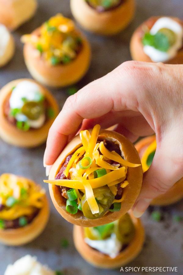 Perky Mini Chorizo Chili Bread Bowls