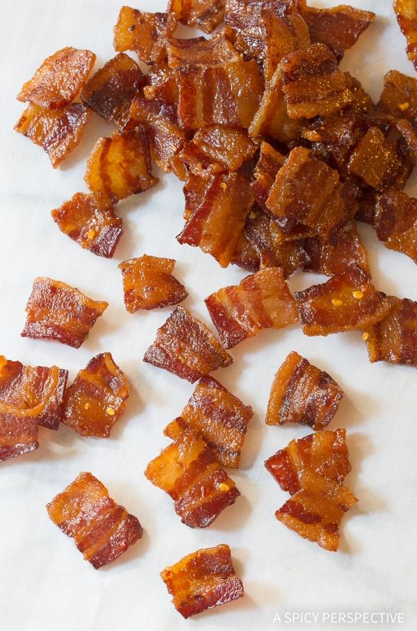 Crispy Bourbon Candied Bacon Bites - AKA Pig Candy