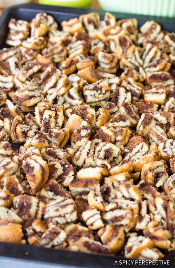 Making Cinnamon Roll Bread Pudding Muffins Recipe