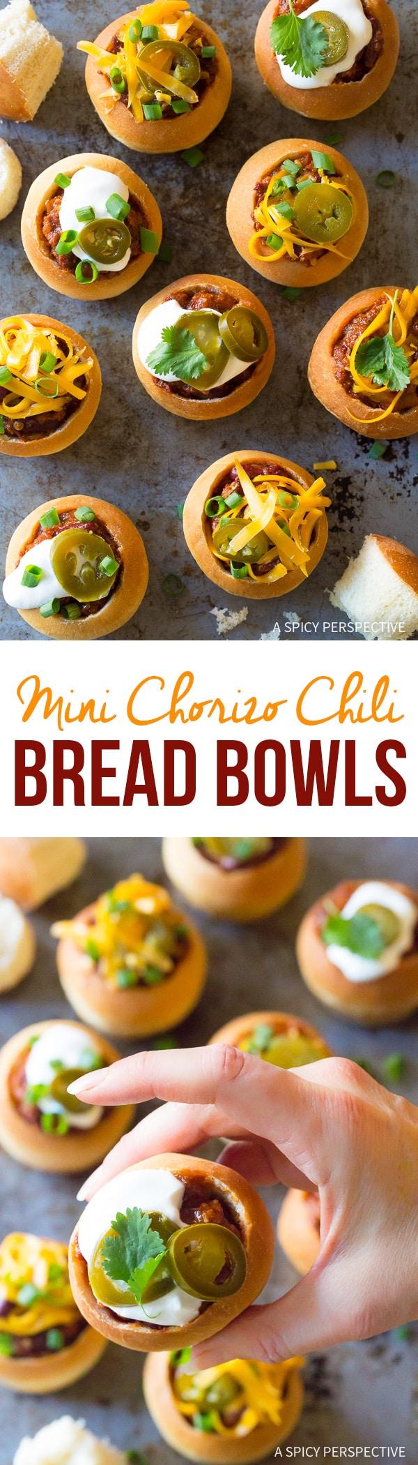 Mini Chorizo Chili Bread Bowls Recipe for Game Day!