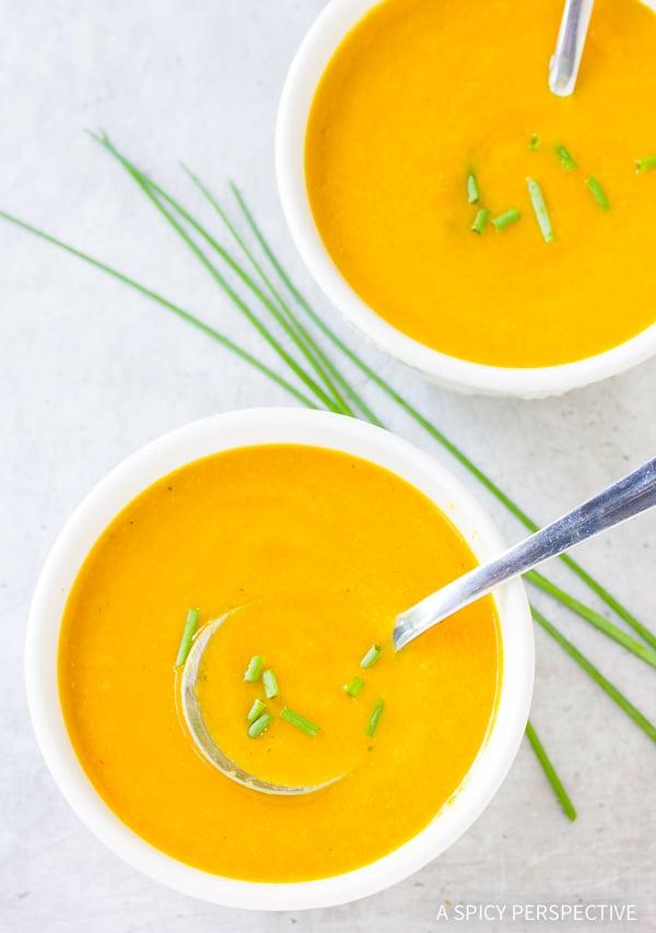 Vegan Creamy Golden Vegetable Soup Recipe