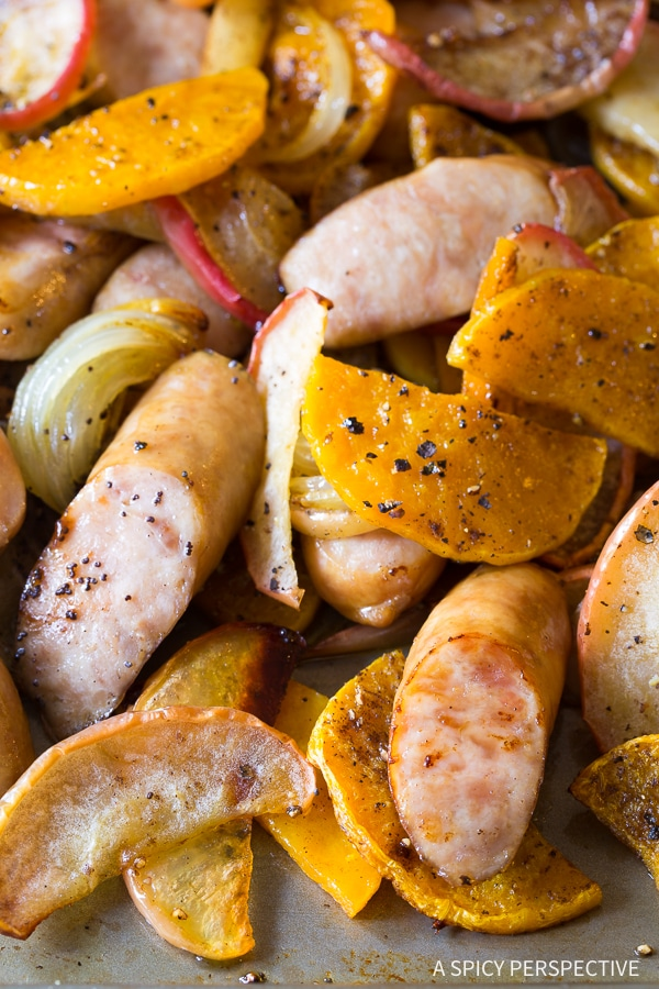 Juicy Chicken Sausage Apple Squash Sheet Pan Dinner Recipe