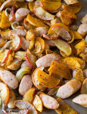 Chicken Sausage Apple Squash Sheet Pan Dinner Recipe