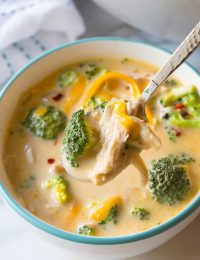 Skinny Creamy Chicken Broccoli Soup Recipe