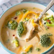 Skinny Creamy Chicken Broccoli Soup Recipe