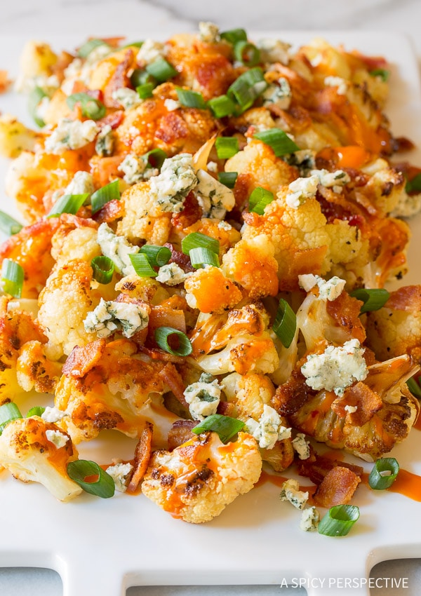 Easy Buffalo Bacon Roasted Cauliflower Recipe
