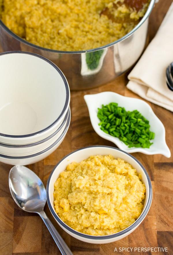 Easy Cheesy Vegan Quinoa Grits Recipe
