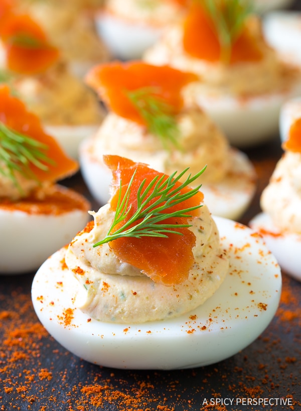 Smoked Salmon Dip Deviled Eggs