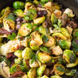 Braised Brussels Sprouts with Sun-Dried Tomatoes, Artichokes, and Olives Recipe