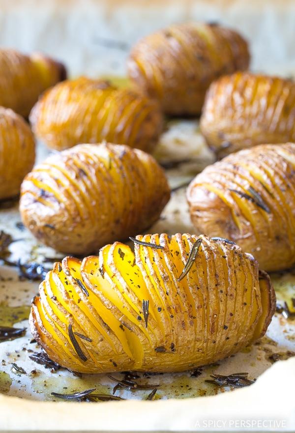 Crispy Hasselback Potatoes with Rosemary and Garlic Recipe