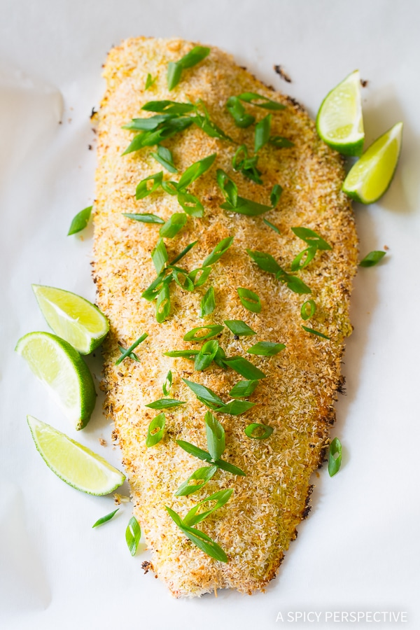 Light Healthy Green Curry Coconut Crusted Baked Salmon Recipe