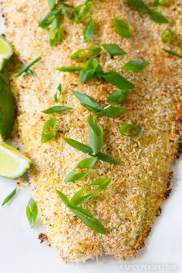Simple Healthy Green Curry Coconut Crusted Baked Salmon Recipe