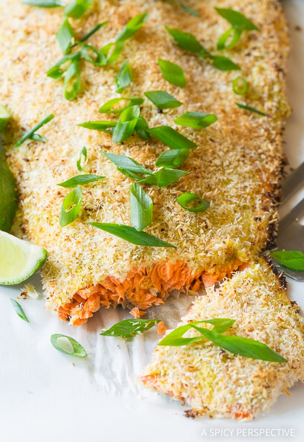 Green Curry Coconut Crusted Baked Salmon - A Spicy Perspective
