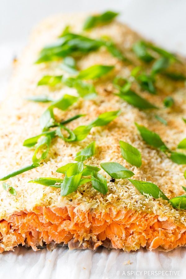 Quick Healthy Green Curry Coconut Crusted Baked Salmon Recipe