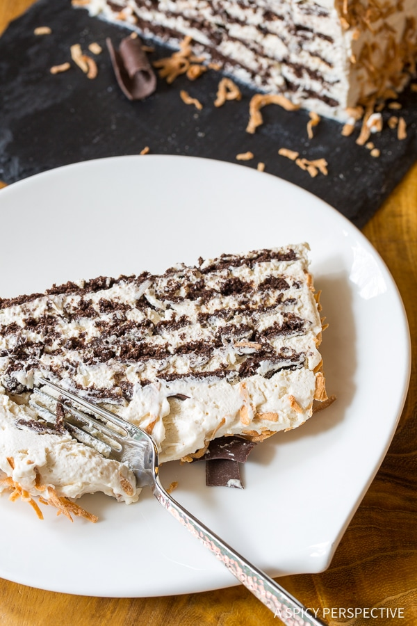 Creamy Kahlua Coconut Icebox Cake Recipe for Valentines Day!