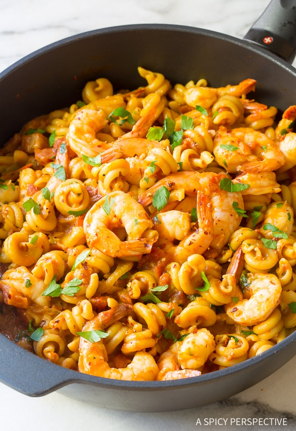 Perfect Skillet Shrimp Fra Diavolo Pasta Recipe (with Instant Pot instructions!)