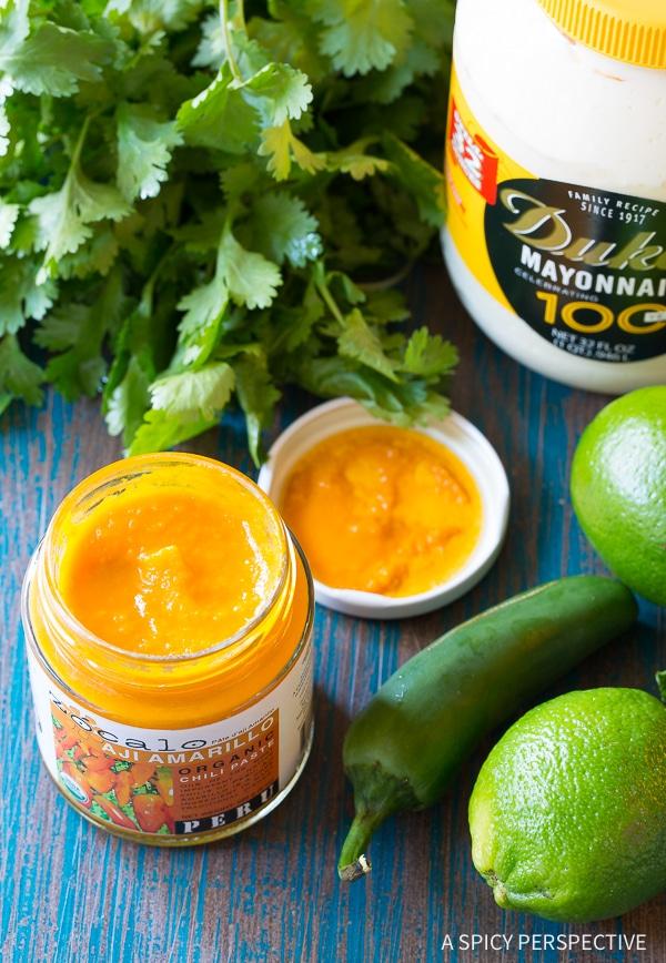 Making Aji Verde (Peruvian Green Sauce) Recipe