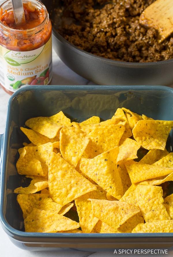 Making Cool Ranch Taco Lasagna Recipe - Mexican Lasagna with huge zesty flavor!