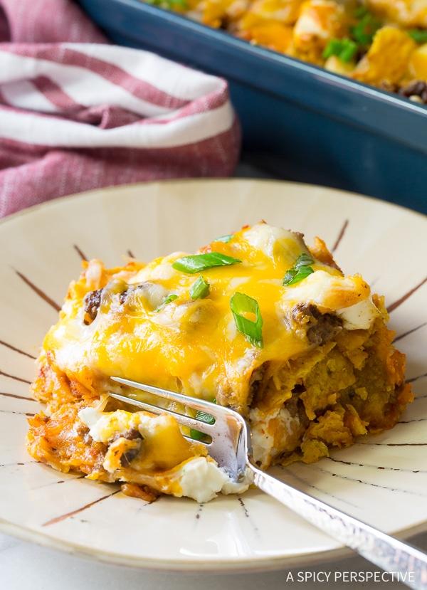 Easy Cool Ranch Taco Lasagna Recipe - Mexican Lasagna with huge zesty flavor!