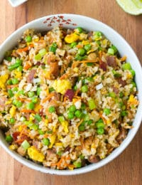 Triple Pork Fried Rice Recipe #ASpicyPerspective #rice #fried #pork #bacon #asian #hawaiian