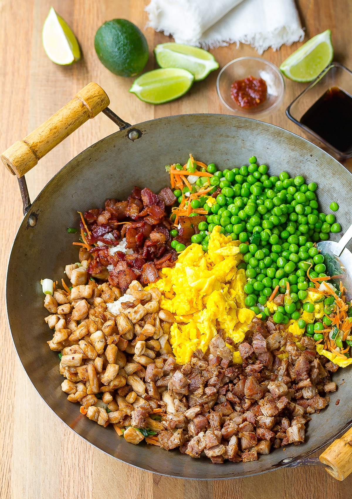 Pork Stir Fry Rice Recipe #ASpicyPerspective #rice #fried #pork #bacon #asian #hawaiian