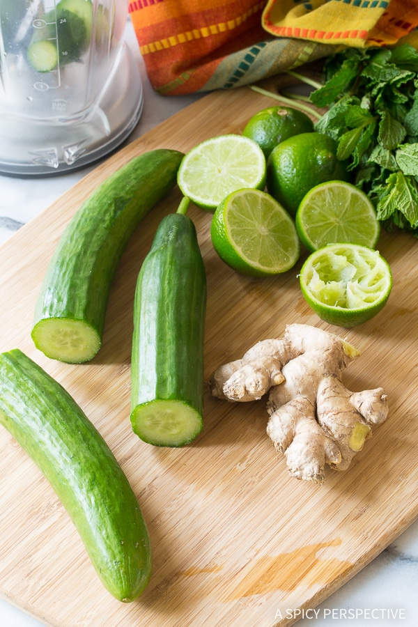Making Cucumber Lime Ginger Mint Agua Fresca - Summer Mocktail Recipe