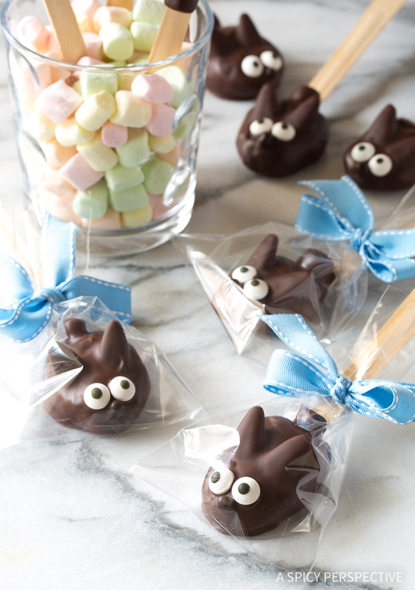 Easter Bunny Chocolate Truffle Spoons #ASpicyPerspective #Easter #EasterBunny #EasterTreats #Chocolate #ChocolateTruffles #PeanutButterTruffles #ChocolatePeanutButter #TruffleSpoon