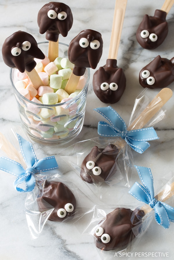Fun Easter Bunny Chocolate Peanut Butter Truffle Spoons Recipe